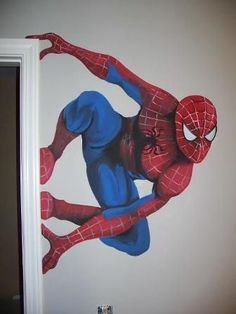 Ideas For Making The Ultimate Superhero Bedroom Add a superhero mural to the wall.Add a superhero mural to the wall. Marvel Bedroom, Boys Superhero Bedroom, Superhero Room Decor, Spiderman Bedrooms, Superhero Wall Art, Avengers Room, Marvel Avengers, Painting Services, Man Room