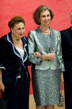 (R-L) Queen Sofia of Spain accompanied by Dona Infanta Margarita, presides homage to Carlos Zurita, Duke of Soria, organized by the National Museum of the Meadow, 10.10.13