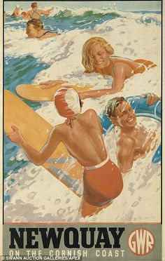 Newquay , 1937 poster from the Great Western Railway to publicise the North Cornish seaside resort and its surfing stock photo Advertising History, Advertising Design, Cheap Advertising, British Holidays, National Railway Museum, Art Deco Posters, Posters Uk, Train Posters, Retro Posters