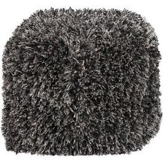 "Shag pouf in coal black.     Product: Pouf  Construction Material: 100% Polyester  Color: Coal black  Features: Made in India          Dimensions: 18"" H x 18"" W x 18"" D      Cleaning and Care: Rotate frequently. Blot stains."