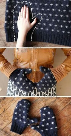 Ideas for Upcycling Old Clothes Repurposed Sweater Mittens - a brilliantly warm and thrifty idea for winter!Repurposed Sweater Mittens - a brilliantly warm and thrifty idea for winter! Sewing Hacks, Sewing Crafts, Sewing Projects, Sewing Tips, Upcycled Crafts, Diy Crafts, Repurposed, Sewing Ideas, Upcycled Vintage