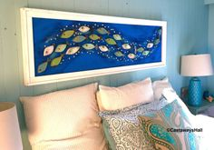 Wood School of Fish Wall Art Or Headboard Queen Size Sign Driftwood Colours Beach Lake House Wall Decor by CastawaysHall READY TO SHIP - One only! A new and original piece of art by CastawaysHall. You wont find this anywhere else. A great piece of art for the beach or lake house, cabin, cottage or the fish enthusiast. Use it over a sofa, above a bed or simply as a piece of focal art. A very unique school of 22 wooden fish each with their own antique clock winding key as a tail, riding the…