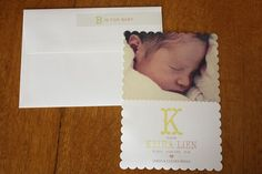 scalloped birth announcements