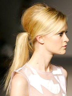 A teased, bouffant ponytail variation. #ponytail #blonde http://www.faboverfifty.com/wstyleblog.php/?p=22782