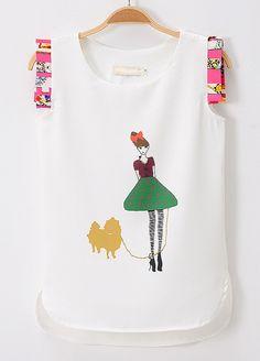White Contrast Frill Sleeveless Dai Chia Print Top - Sheinside.com