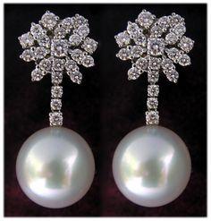 pendientes brillantes y perla australiana