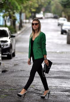 Green Blazer...and I wish I were that comfortable walking in heels that high. Never gonna happen!