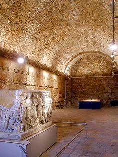 Catacumba del Circo romano en Tarragona donde puede verse el Sarcofago de Hipolito.