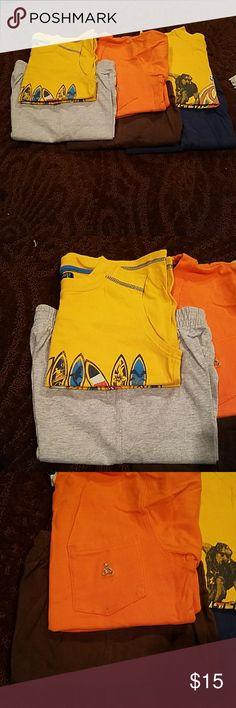 6 pc boys short set size 4t and 5t Shorts are all Circo 5t Shirts are pants place xs, children's place 4t, and gap 5t( see small stain and threading on orange gap shirt) Bottoms Shorts