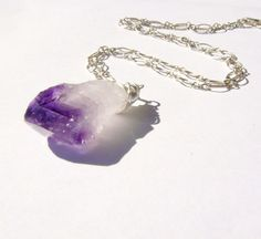 Purple Raw Amethyst Necklace Wire Wrapped Pendant by TraceDesigns, $44.00