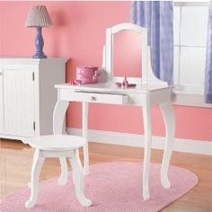 Circo® Kids Vanity Table and Stool - White :...