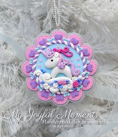 Handcrafted Polymer Clay Whimsical Unicorn by MyJoyfulMoments