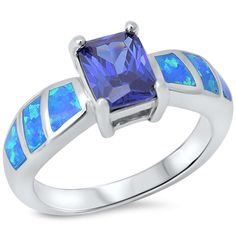 Solitaire Accent Wedding Engagement Anniversary Ring 1.74CT Radiant Cut Tanzanite Lab Blue Opal Accent Solid 925 Sterling Silver