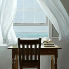 The fantasy me's favorite writing space. Window View, Open Window, Cottages By The Sea, Beach Cottages, House By The Sea, Through The Window, Coastal Living, Cottage Living, Belle Photo