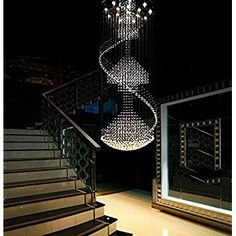 """Siljoy Spiral Round Modern Crystal Chandelier Spiral Chandelier Lighting D27.6"""" x H78.8"""" for Stairs Living Room Foyer Entryway - - Amazon.com"""