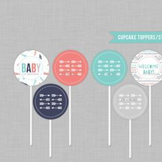 Tribal/Aztec Baby Shower Cupcake Toppers/Stickers INSTANT DOWNLOAD - http://babyshowercupcake-toppers.com/tribalaztec-baby-shower-cupcake-toppersstickers-instant-download/