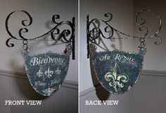 Beautiful Double Sided French Welcome Sign - From Antiquefarmhouse.com - http://www.antiquefarmhouse.com/current-sale-events/romance2/beautiful-double-sided-french-welcome-sign.html
