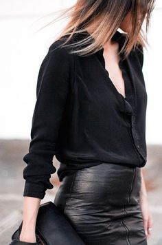 Black on black edgy glam.