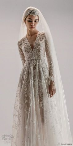 Bridal Lace, Bridal Gowns, Wedding Gowns, Lace Wedding Dress With Sleeves, Tea Length Wedding Dress, Ersa Atelier, Vintage Veils, Lace Weddings, Bridal Collection