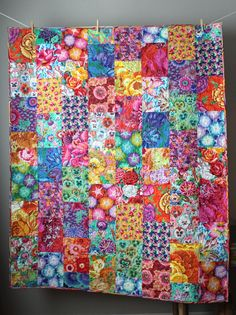 Kaffe Fassett Quilt-Cotton Anniversary Gift- Modern Throw Quilt- Gift for Grandma- Colorful Quilt-Boho Quilt-Quilt For Mom- Modern Lap Quilt Patchwork Quilting, Scrappy Quilts, Crazy Quilting, Crazy Patchwork, Amish Quilts, Longarm Quilting, Machine Quilting, Bright Quilts, Colorful Quilts
