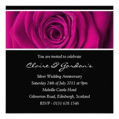 Pink Rose Anniversary Party Invitation