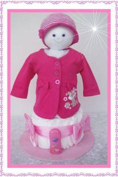 Windeltorte Pink/rosa/grau Windeltorte Jäckchen Von Geschenke Eckle Auf  DaWanda.com
