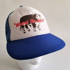 0d96267a70022 Vintage 80s Wheres the Beef Cow Funny Snapback Trucker Hat Blue Cap Mesh  Foam Farmer
