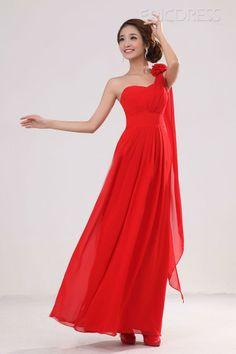 Flowing A-Line One Shoulder Floor Length Evening Dress
