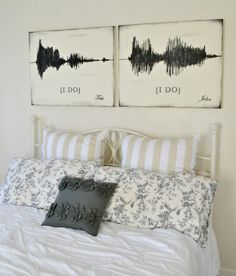"Wave ""I Do"" Canvas Set Sound Wave ""I Do"" Canvas Art Set {customizable} - Aimee Weaver DesignsSound Wave ""I Do"" Canvas Art Set {customizable} - Aimee Weaver Designs Idee Diy, Sound Waves, Sound Sound, My Dream Home, Future House, Bed Pillows, Master Bedroom, Sweet Home, New Homes"