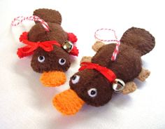 I Love a platypus! Christmas Platypus  Felt  Ornament by RazzleDazzlebySally on Etsy, $14.00
