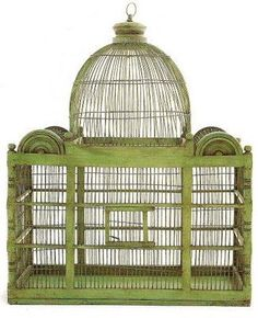 Atlanta-based Vagabond Vintage interpretation of an antique birdcage, crafted from recycled metal and sustainably harvested acacia Antique Bird Cages, The Caged Bird Sings, Vintage Birds, Vintage Birdcage, Elle Decor, Beautiful Birds, Bird Houses, Interior Design Living Room, Pet Birds