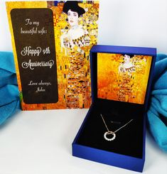 Klimt Painting Birthday Anniversary Gift - Silver Necklace with Art and Personalised Message Card for Girlfriend, Wife, Loved One Birthday Gifts For Her, Happy Birthday Me, Message For Girlfriend, Presents For Her, Beautiful Wife, Message Card, Beautiful Paintings, Sterling Silver Pendants, Anniversary Gifts