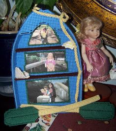 Boat picture frame, plastic canvas