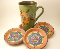 Four Handpainted Mandala Coasters Terracotta