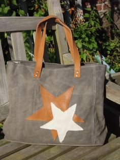 Allroundtasche, 2 Stars, grey, vintage Canvas Bag