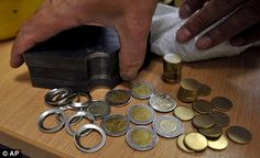 Arrests: Police seized thousands of nickel and copper-alloy pieces used to make the coins and machinery that embeds them with the Greek national design Euro Coins, Greece, Police, Copper, Cooking Recipes, Spaces, Holiday, How To Make, Food