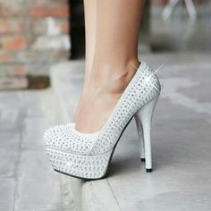 Shoes I Love Sparkly silver heels 9266 |Silver Heels|