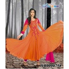 Amber Coloured Georgette Anarkali Suit (20% Discount)