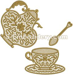 Freestanding lace teatime machine embroidery designs set