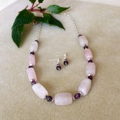 One of the latest additions to my #etsy shop: Rose Quartz Bead Necklace Set Pink Quartz Necklace Pale Pink Beaded Necklace Set Amethyst Gemstone Necklace Rose Quartz Jewelry http://etsy.me/2CV2vwv #pink #jewelry #rosequartz #necklace #womensgift #valentinesdaygift