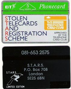 BTG021 Stolen Telecards (S.T.A.R.S) Magpie reverse printed.
