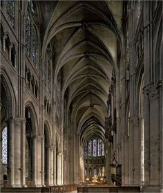 HIGH GOTHIC in France, Nave, Chartres Cathedral, 1140-50.  Because Chartres was completed in a relatively short time. The view of the master builder was realized and Chartes is considered a cathedral with great unity of design.