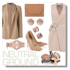 """""""Neutral Ground"""" by jeneeeh5 ❤ liked on Polyvore featuring Boohoo, Michael Kors, Theory, Lipsy, MaxMara, Carolee and MANGO"""