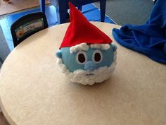 Papa smurf pumpkin decorated for pre k