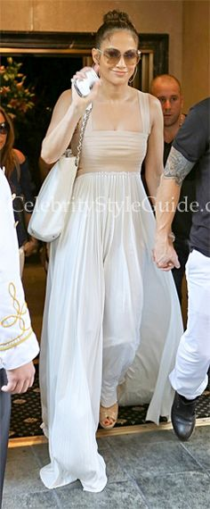 Jennifer Lopez wore the flowing A.L.C. Elastic Pleated Maxi Dress when she and her boyfriend Casper Smart leave their hotel to head out for lunch on Tuesday (July 24) in New York City.