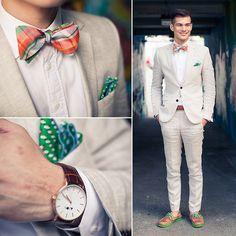 2014-08-25のファッションスナップ。着用アイテム・キーワードはスーツ(シングル), デッキシューズ, ポケットチーフ, リネンジャケット, リネンパンツ, 蝶ネクタイ,etc. 理想の着こなし・コーディネートがきっとここに。| No:54826