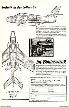 Original-Werbung/ Anzeige 1959 - BUNDESWEHR / MOTIV JAGDBOMBER REPUBLIC F84F - Ca. 135 X 220 Mm - Werbung