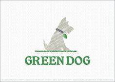 Logo for sale: Cute, clean and friendly logo design of an obedient dog/puppy sitting on the grass. The dog's collar is designed to look like an organic leaf. The entire design is created in a natural rustic sketch style to complement the Eco-friendly nature/style of this logo design.
