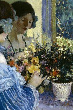 Girl in Blue Arranging Flowers.  -  Frederick Carl Frieseke, 1915
