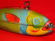 Vintage Tin Litho Wind Up Toy J.Chein & Co. Toys WIND-UP FISH Metal MADE IN USA